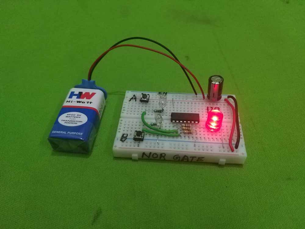 nor gate project - on breadboard - best project topics