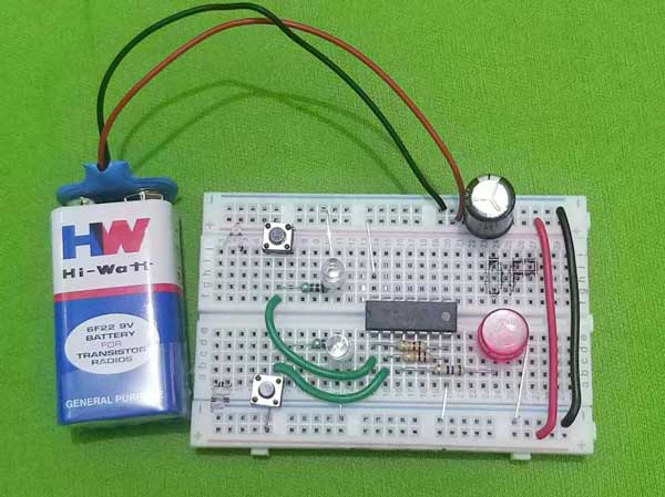 x or gate project - on breadboard